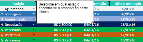 estágio de venda serve como follow up na planilha de excel